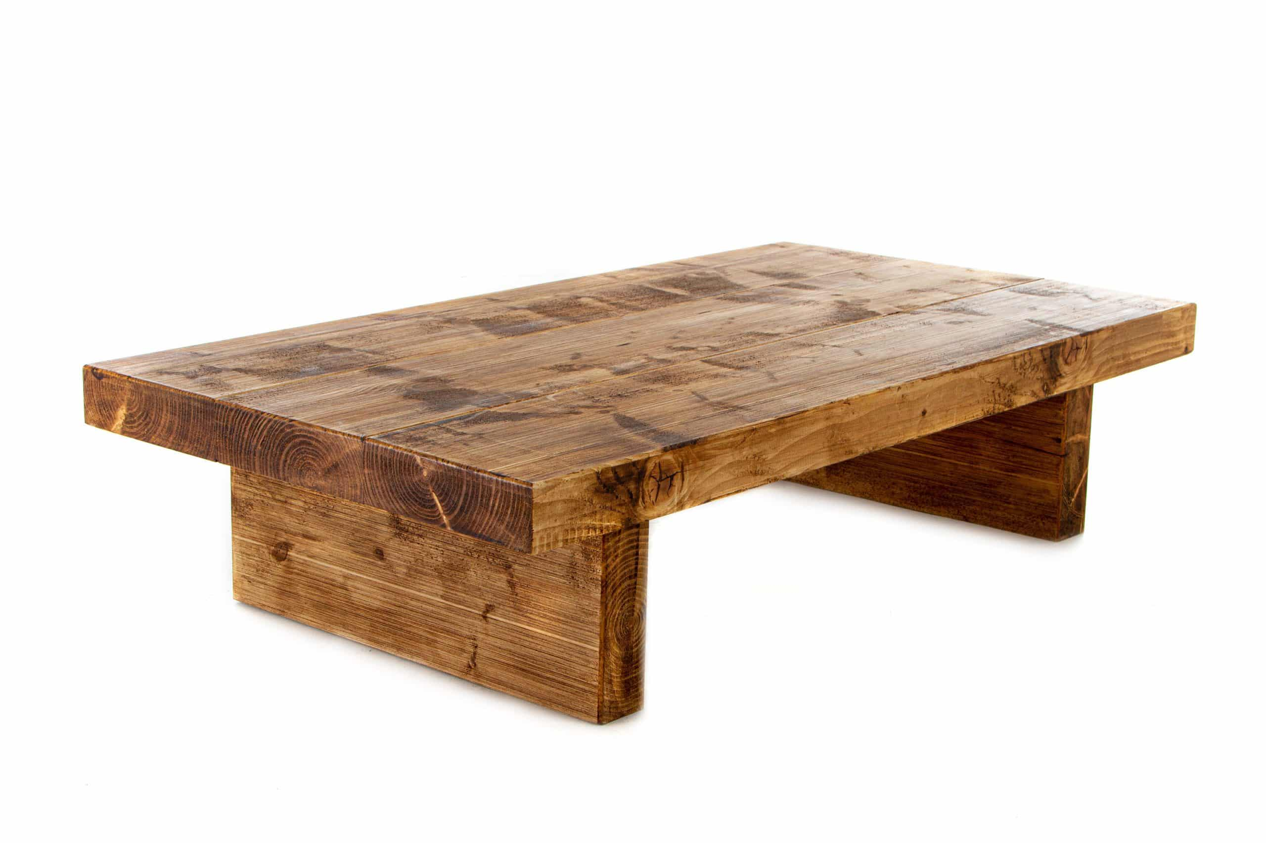 Chunky Rustic 35cm Tall Coffee Table Handcrafted From 3 Inch Thick Reclaimed Solid Wood Handmade Sofa Table Ashley Moore Furniture